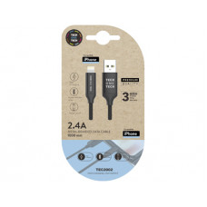 CABLE USB 2.4 TECH ONE TECH BRAIDED NYLON TIPO USB APPLE MICRO USB LONGITUD 1 MT COLOR NEGRO