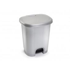 PAPELERA CONTENEDOR PLASTICFORTE PLASTICO CON TAPADERA Y PEDAL 27 LITROS COLOR PLATA 380X320X450 MM