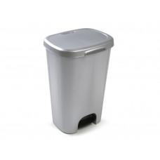 PAPELERA CONTENEDOR PLASTICFORTE PLASTICO CON TAPADERA Y PEDAL 50 LITROS COLOR PLATA 410X360X635 MM