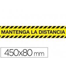 "CINTA ADHESIVA DE SEÑALIZACION ""MANTENGA DISTANCIA DE SEGURIDAD"" PVC 165MC MEDIDAS BANDA 450X80 MM"
