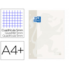 RECAMBIO COLOR 1 OXFORD DIN A4+ 80 HOJAS 90 GR CUADRO 5 MM 4 TALADROS COLOR BLANCO