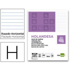 BLOC DE CARTAS LIDERPAPEL RAYADO HOLANDESA 40 HOJAS 60G/M2