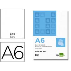 BLOC NOTAS LIDERPAPEL LISO A6 80 HOJAS 60G/M2 PERFORADO
