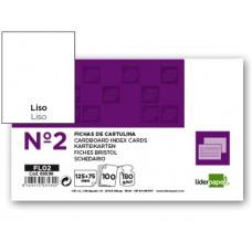 FICHA LIDERPAPEL LISA Nº2 75 X 125MM PAQUETE DE 100 180G