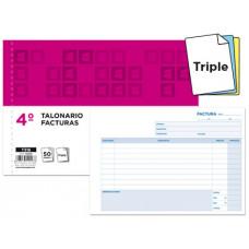TALONARIO LIDERPAPEL FACTURAS CUARTO ORIGINAL Y 2 COPIAS T318 APAISADO CON I.V.A.