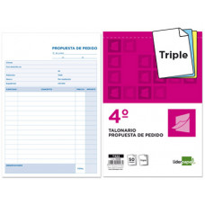 TALONARIO LIDERPAPEL PEDIDOS CUARTO ORIGINAL Y 2 COPIAS T322