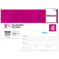 TALONARIO LIDERPAPEL RECIBOS 3/Fº ORIGINAL T136 SIN MATRIZ