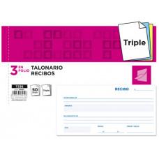 TALONARIO LIDERPAPEL RECIBOS 3/Fº APAISADO ORIGINAL Y 2 COPIAS SIN MATRIZ