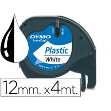CINTA DYMO 12MMX4MT -NEGRO/BLANCO PERLA PARA MAQUINA LETRATAG 91201