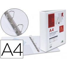 CARPETA CANGURO 4 ANILLAS MIXTAS 40MM LIDERPAPEL A4 PLASTICO BLANCA
