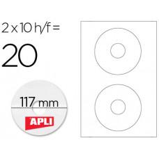 ETIQUETA ADHESIVA APLI 10603 TAMAÑO CD-ROM 117 MM PARA FOTOCOPIADORA LASER INK-JET CAJA CON 10 HOJAS/20 ETIQUETAS