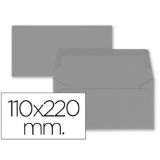 SOBRE LIDERPAPEL AMERICANO GRIS 110X220 MM 80 GR PACK DE 9 UNIDADES