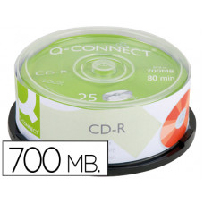 CD-R Q-CONNECT CAPACIDAD 700MB DURACION 80MIN VELOCIDAD 52X BOTE DE 25 UNIDADES
