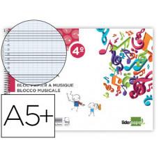 BLOC MUSICA LIDERPAPEL PENTAGRAMA PAUTADO 2,5MM CUARTO 20 HOJAS 100G/M2
