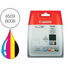INK-JET CANON 551 C/M/Y/BK PIXMA IP8750 / IX6850 / MG5550 / MG6450 / MG7150 / MX725 / MX925 PACK 4 COLORES