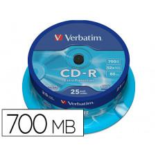 CD-R VERBATIM CAPACIDAD 700MB VELOCIDAD 52X 80 MIN TARRINA DE 25 UNIDADES