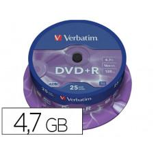 DVD+R VERBATIM CAPACIDAD 4.7GB VELOCIDAD 16X 120 MIN TARRINA DE 25 UNIDADES