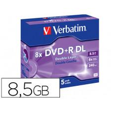 DVD+R VERBATIM DOBLE CAPA CAPACIDAD 8.5GB VELOCIDAD 8X 240 MIN PACK DE 5 UNIDADES