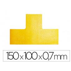SIMBOLO ADHESIVO DURABLE PVC FORMA T PARA DELIMITACION SUELO AMARILLO 150X100X0,7 MM PACK DE 10 UNIDADES