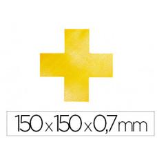 SIMBOLO ADHESIVO DURABLE PVC FORMA DE CRUZ PARA DELIMITACION SUELO AMARILLO 150X150X0,7 MM PACK DE 10