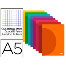 LIBRETA LIDERPAPEL 360 TAPA DE PLASTICO A5 48 HOJAS 90G/M2 CUADRO 4MM CON MARGEN COLORES SURTIDOS