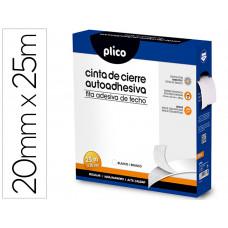 CINTA DE CIERRE ADHESIVA PLICO VELCRO BLANCO 20MM X 25M