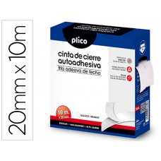 CINTA DE CIERRE ADHESIVA PLICO VELCRO BLANCO 20MM X 10M