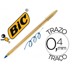 BOLIGRAFO BIC CRISTAL CELEBRATION ORO TINTA AZUL UNIDAD