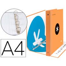 CARPETA 4 ANILLAS 40 MM MIXTAS LIDERPAPEL ANTARTIK A4 FORRADA COLOR NARANJA